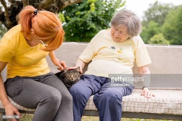 Pflegepersonal und Senior Frau spielt mit Katze außerhalb des Hauses Kindergarten