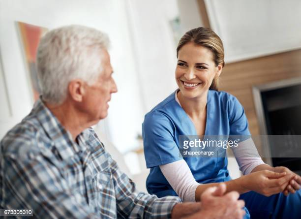 caregivers care about more than just your health - home carer stock photos and pictures