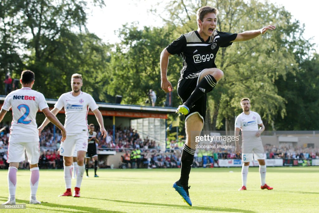 Carel Eiting of Ajax celebrate is goal the 1-1 during the Club Friendly match between Ajax v Steaua Bucharest at the Sportpark 't Achterveen on July 7, 2018 in Hattem Netherlands