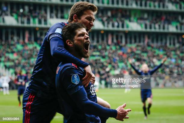 Carel Eiting of Ajax celebrate the 12 with Klaas Jan Huntelaar of Ajax after his goal during the Dutch Eredivisie match between FC Groningen v Ajax...