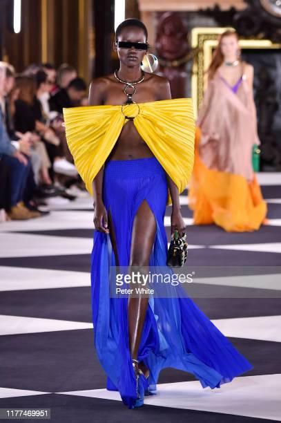 Caren Jepkemei walks the runway during the Balmain Womenswear Spring/Summer 2020 show as part of Paris Fashion Week on September 27, 2019 in Paris,...