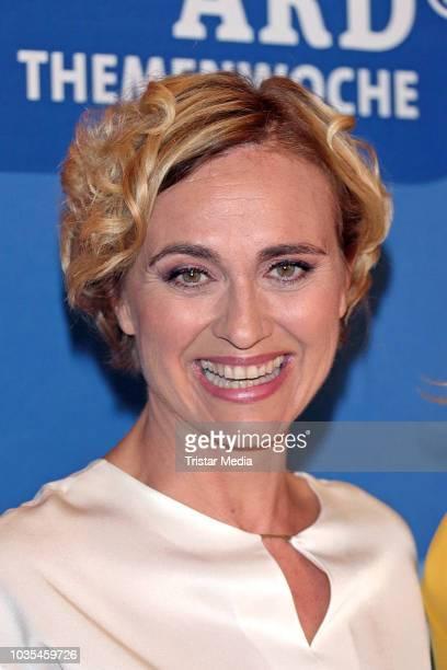 Caren Miosga attends the photo call for ARD theme week 'Gerechtigkeit' on September 18, 2018 in Hamburg, Germany.