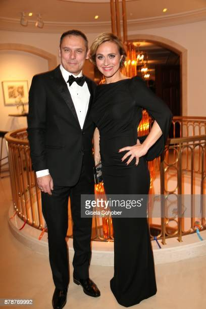 Caren Miosga moderator 'Tagesthemen and her husband Tobias Grob during the 66th 'Bundespresseball' at Hotel Adlon on November 24 2017 in Berlin...