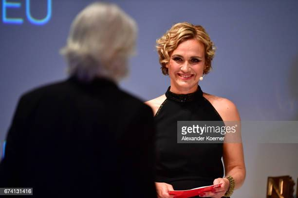 Caren Miosga speaks on stage at the Nannen Award 2017 on April 27, 2017 in Hamburg, Germany.