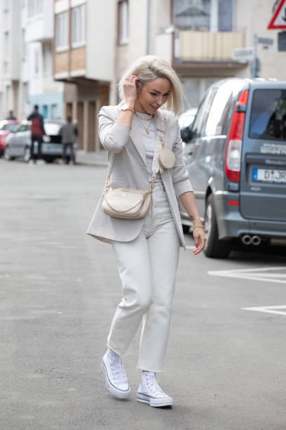 DEU: Caren Thoma Street Style Shooting In Dusseldorf