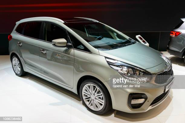 Carens crossover MPV on display at Brussels Expo on January 13, 2017 in Brussels, Belgium. The third generation of the Kia Carens is available with...