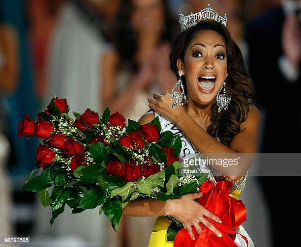 Caressa Cameron, Miss Virginia, reacts after being crowned Miss America during the 2010 Miss America Pageant at the Planet Hollywood Resort & Casino...