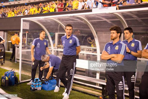 Caretaker head coach Lionel Scaloni of Argentina in the dugout before the Argentina Vs Colombia International Friendly football match at MetLife...