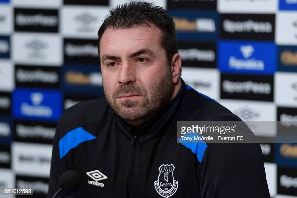 Caretaker manager David Unsworth speaks to the press during the Everton press conference at USM Finch Farm on November 28 2017 in Halewood England
