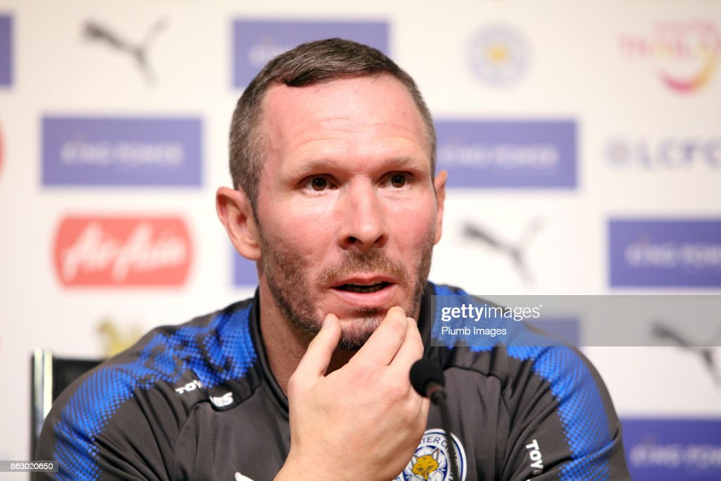 Caretaker manager Michael Appleton during the Leicester City press conference at King Power Stadium on October 19 , 2017 in Leicester, United Kingdom.