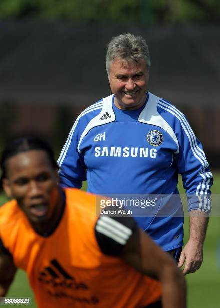 Caretaker manager of Chelsea Guus Hiddink smiles during a training session at the Chelsea FC training ground on April 21, 2009 in Cobham, Surrey.