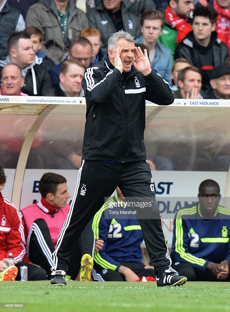 Caretaker Manager of Nottingham Forest Gary Brazil issues instructions during the Sky Bet Championship match between Nottingham Forest and Millwall at City Ground on April 05, 2014 in Nottingham, England,