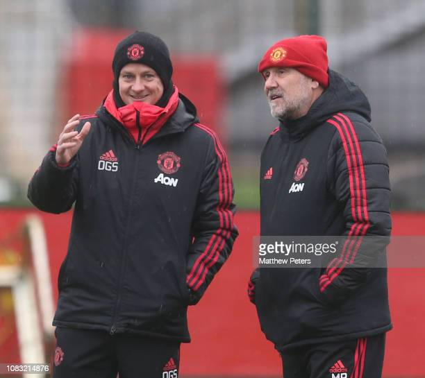 Caretaker Manager Ole Gunnar Solskjaer and Coach Mike Phelan of Manchester United in action during a first team training session at Aon Training...