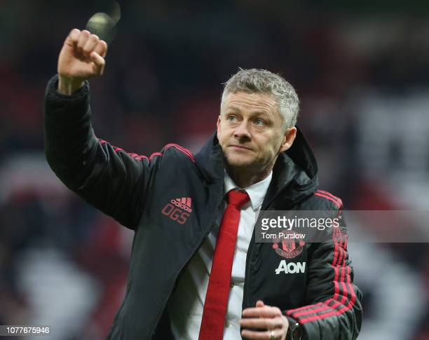 Caretaker Manager Ole Gunnar Solskjaer of Manchester United celebrates after the FA Cup Third Round match between Manchester United and Reading at...