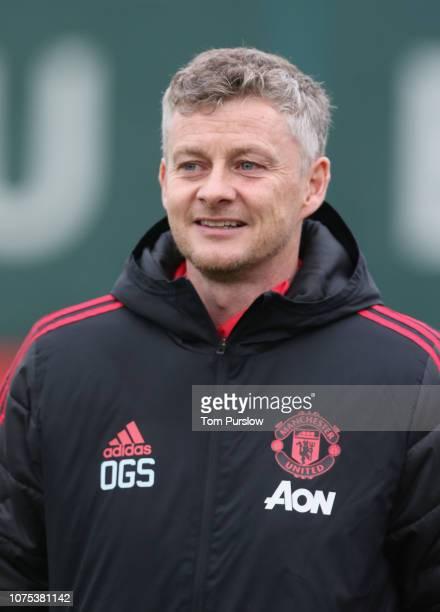 Caretaker Manager Ole Gunnar Solskjaer of Manchester United in action during a first team training session at Aon Training Complex on December 28...
