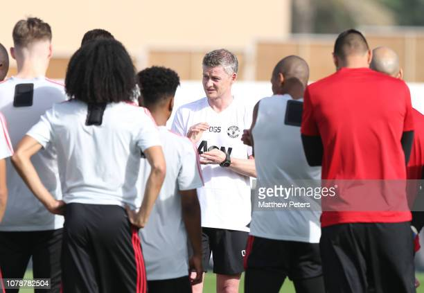 Caretaker Manager Ole Gunnar Solskjaer of Manchester United in action during a first team training session at Nad Al Sheba Sports Complex on January...