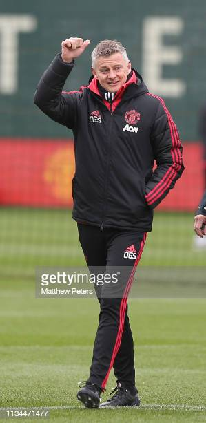Caretaker Manager Ole Gunnar Solskjaer of Manchester United in action during a training session at Aon Training Complex on March 08 2019 in...