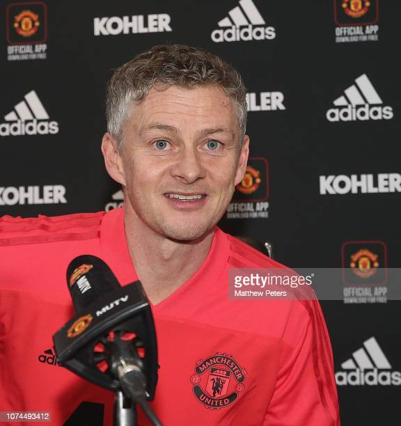 Caretaker Manager Ole Gunnar Solskjaer of Manchester United speaks during a press conference at Aon Training Complex on December 21 2018 in...