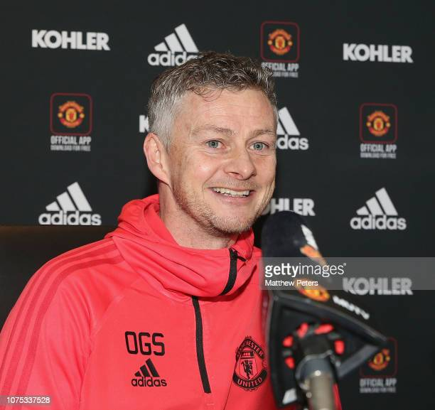 Caretaker Manager Ole Gunnar Solskjaer of Manchester United speaks during a press conference at Aon Training Complex on December 28 2018 in...