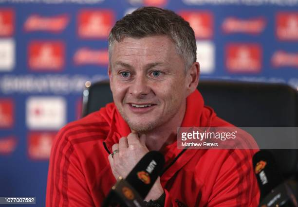 Caretaker Manager Ole Gunnar Solskjaer of Manchester United speaks during a press conference at Aon Training Complex on January 4 2019 in Manchester...