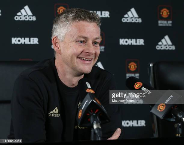 Caretaker Manager Ole Gunnar Solskjaer of Manchester United speaks during a press conference at Aon Training Complex on February 01 2019 in...