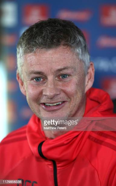 Caretaker Manager Ole Gunnar Solskjaer of Manchester United speaks during a press conference at Aon Training Complex on February 15, 2019 in...