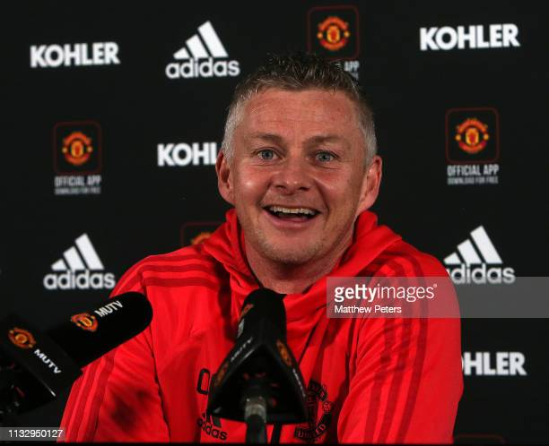 Caretaker Manager Ole Gunnar Solskjaer of Manchester United speaks during a press conference at Aon Training Complex on March 01 2019 in Manchester...