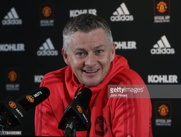 Caretaker Manager Ole Gunnar Solskjaer of Manchester United speaks during a press conference at Aon Training Complex on March 08 2019 in Manchester...