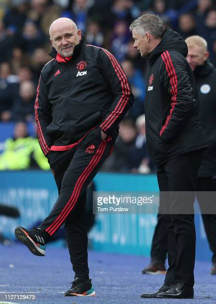 Caretaker Manager Ole Gunnar Solskjaer of Manchester United watches from the touchline during the Premier League match between Leicester City and...