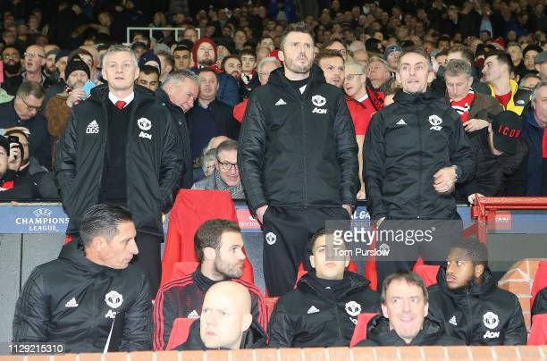 Caretaker Manager Ole Gunnar Solskjaer of Manchester United watches from the dugout during the UEFA Champions League Round of 16 First Leg match...
