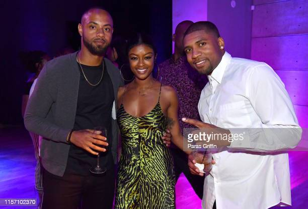 Carey Boy Javicia Leslie and Jay Blaze attend PREMIX Hosted By Connie Orlando at The Sunset Room on June 19 2019 in Los Angeles California