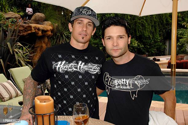 *EXCLUSIVE* Carey Hart and Corey Feldman at the launch of PETA President Ingrid Newkirk's new book Let's Have a Dog Party with a bash at her Los...