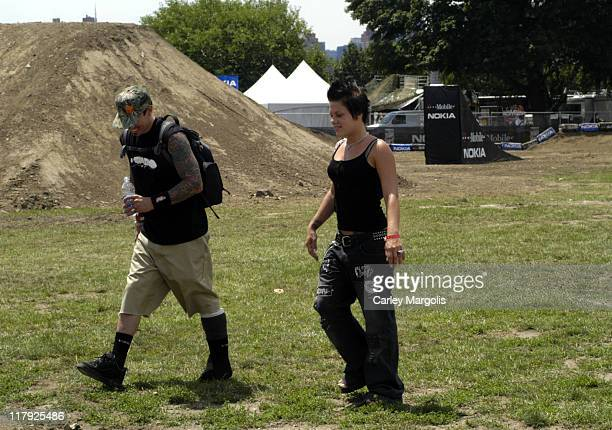 Carey Hart and girlfriend Pink during The Nokia TMobile Ramps Amps Invitational Presented by EXPNcom at Randalls Island in New York City New York...