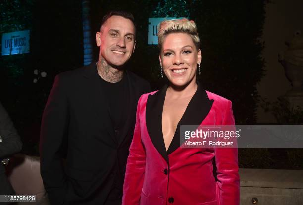 Carey Hart and Pink attend Billboard's 2019 LIve Music Summit and Awards Ceremony at the Montage Hotel on November 05, 2019 in Beverly Hills,...