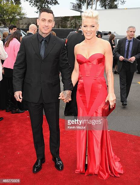 Carey Hart and Pink attend the 56th GRAMMY Awards at Staples Center on January 26, 2014 in Los Angeles, California.