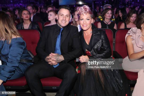 Carey Hart and Pink during the 2017 American Music Awards at Microsoft Theater on November 19 2017 in Los Angeles California