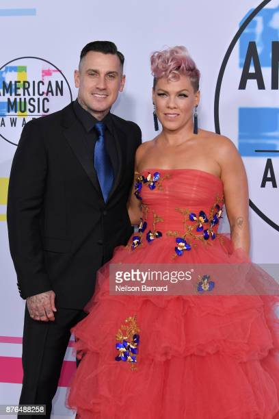 Carey Hart and Pnk attend the 2017 American Music Awards at Microsoft Theater on November 19 2017 in Los Angeles California