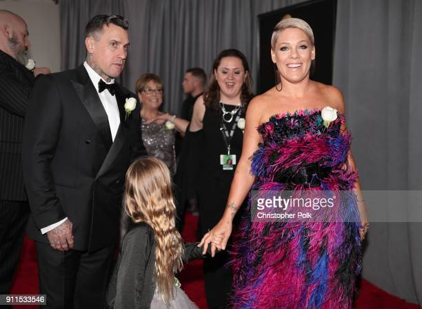 Carey Hart and recording artist Pink attend the 60th Annual GRAMMY Awards at Madison Square Garden on January 28 2018 in New York City