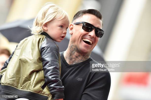 Carey Hart and son Jameson Moon Hart attend the ceremony honoring Pink with Star on the Hollywood Walk of Fame on February 05 2019 in Hollywood...