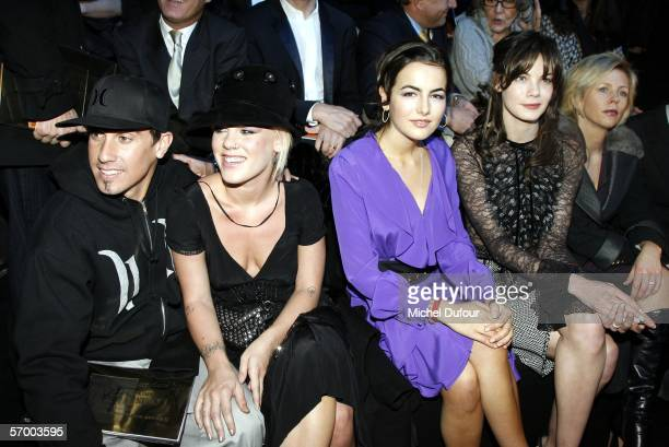 Carey Hart Pink Camilla Bell Michele Monagham are seen backstage at the Louis Vuitton fashion show as part of Paris Fashion Week Autumn/Winter 2006/7...