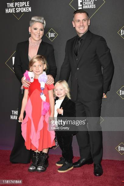 Carey Hart Pnk Jameson Hart and Willow Hart attend 2019 E People's Choice Awards Arrivals at The Barker Hanger on November 10 2019 in Santa Monica...