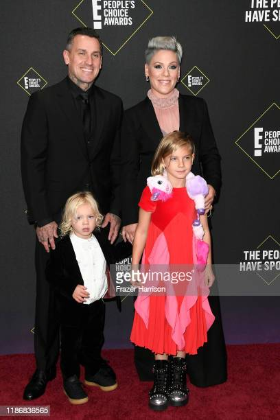 Carey Hart Pnk Jameson Hart and Willow Hart attend the 2019 E People's Choice Awards at Barker Hangar on November 10 2019 in Santa Monica California