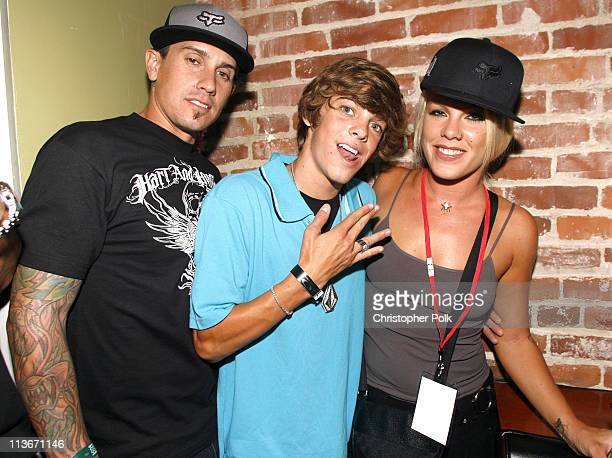 Carey Hart Ryan Sheckler and Pink during 2006 Blender/Oakley X Games Kick Off Party Inside at Element in Hollywood California United States
