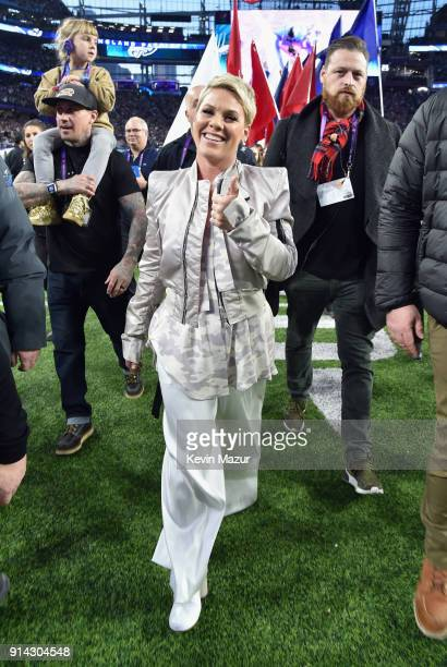 Carey Hart, Willow Har and recording artist Pink attend Super Bowl LII Pregame show at U.S. Bank Stadium on February 4, 2018 in Minneapolis,...