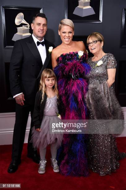 Carey Hart Willow Sage Hart recording artist Pink and Judith Moore attends the 60th Annual GRAMMY Awards at Madison Square Garden on January 28 2018...
