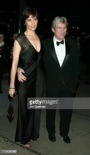 Carey Lowell and Richard Gere during amfAR Benefit Evening Honoring Richard Gere Lorne Michaels and Anna Wintour Arrivals at Cipriani's 42nd St in...