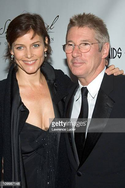 Carey Lowell and Richard Gere during An Enduring Vision A Benefit for The Elton John AIDS Foundation at Cipriani Wall Street in New York City New...