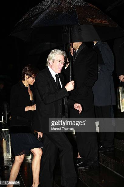 Carey Lowell and Richard Gere during Elton John's 60th Birthday Party at St John the Divine Church in New York City New York United States