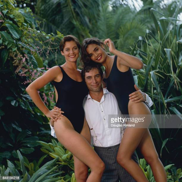 Carey Lowell as Pam Bouvier Timothy Dalton as James Bond Agent 007 and Talisa Soto as Lupe Lemora in the 1989 film Licence to Kill