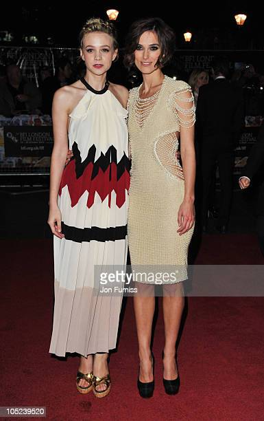Carey Mulligan and Keira Knightley attend the 'Never Let Me Go' premiere during 54th BFI London Film Festival at Odeon Leicester Square on October 13...